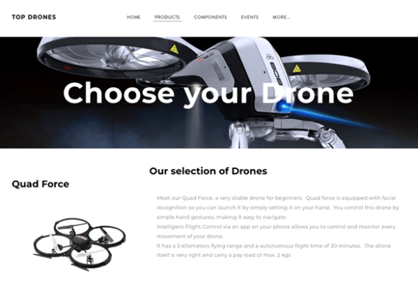 Multi Cloud Story - Customer Centric: Product page of Top Drones